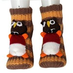 Girl's Boy's 3d Thick Soft Warm Knit Slipper Floor Socks with Non-skid Bottom