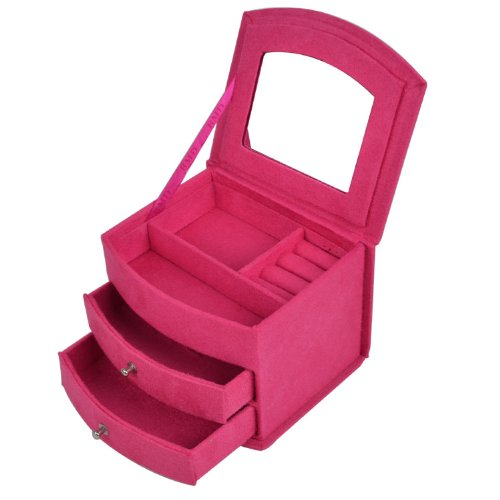 Pink Storage Bins Girls Flower Drawers Chest Dresser: KLOUD City® Hot Pink Three-layer Lint Jewelry Box With