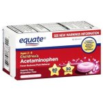 Equate, Children's Acetaminophen 80 mg, Bubblegum Flavor, Ages 2-6, 30 Tablets, Meltaways