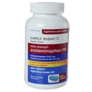 Acetaminophen PM Extra Strength – Non-Aspirin, Pain Reliever, Fever Reducer, Sleep Aid – 500 caplets