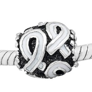 """White Awareness Ribbon Charm Bead Pandora Compatible "" Bead For Snake Chain Charm Bracelet"