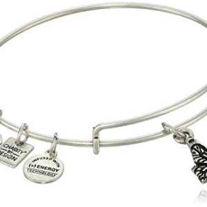 "Alex and Ani ""Charity by Design"" Expandable Wire Bangle Bracelet with Butterfly Charm, 7.75″"