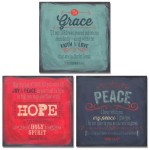 3 Grace Hope Peace Spiritual Inspirational Art Prints Bible Verse Christian 12x12