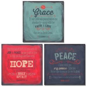 3 Grace Hope Peace Spiritual Inspirational Art Prints Bible Verse Christian 12×12