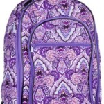 Attractive Purple Floral-designed Quilted Rolling Backpack with Retractable Push-button Handle ~ 100% Cotton Zippered Travel Bag with Adjustable Shoulder Straps and Easy Rolling Wheels