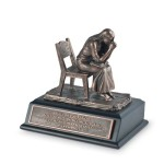 Bronze Resin Praying Woman Sculpture With Black Wood Base Bible Verse LCP