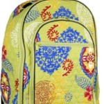 Attractive Green Floral-designed Quilted Rolling Backpack with Retractable Push-button Handle, 100% Cotton Zippered Travel Bag with Adjustable Shoulder Straps and Easy Rolling Wheels