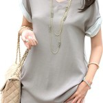 V28® Women's Short Sleeve Semi Sheer Loose V Neck Shirt with Batwing Tunic Top