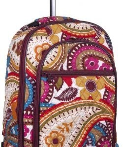 Attractive Colorful Floral-designed Quilted Rolling Backpack with Retractable Push-button Handle ~ 100% Cotton Zippered Travel Bag with Adjustable Shoulder Straps and Easy Rolling Wheels