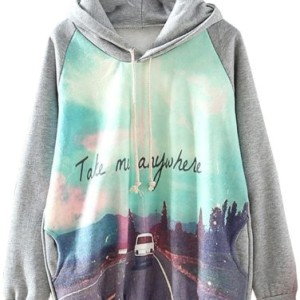 Sheinside Grey Hooded Long Sleeve Car Print Sweatshirt Hoodies Pullover