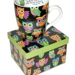 12 Oz. Owl ceramic Coffee Mug with Job 8:21 Bible Verse Gift Boxed