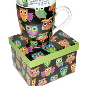 12 Oz. Owl ceramic Coffee Mug with Job 8:21 Bible Verse Gift Boxed