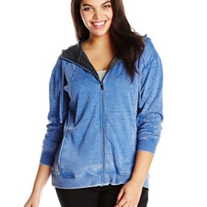 DKNY Jeans Women's Plus-Size Studded Fleece Full Zip Hoodie