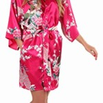 Anntourage Women's Kimono Robe, Peacock Design, Short
