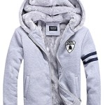 Hefn Men's Winter Thickened Fleece Lined Zip up Hoodie Padded Coat with Hood