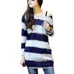 DJT Women Round Neck Pullover Zigzag Pattern Tunic Knitted Shirt