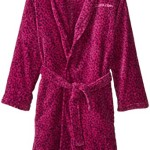 Calvin Klein Big Girls'  Leopard Heart Print Plush Bathrobe