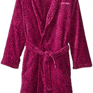 Calvin Klein Big Girls'  Leopard Heart Print Plush Bathrobe