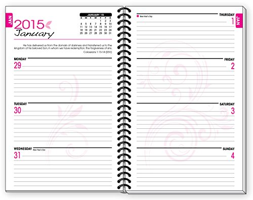 Monthly Calendar Notebook : Planner pink fish inspirational christian daily