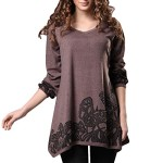 DJT Lady Scoop Neck Long Sleeve Stretchy Irregular Hem Casual Top Blouse