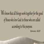 We Know that All Things Work Together for the Good of Those Who Love God Decal Romans 8:28 Decals Bible Wall Quotes Faith Home Decor Stickers