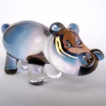 Hand Blown Glass Hippo Hippopotomus Figurine