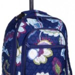 Attractive Blue Floral-designed Quilted Rolling Backpack with Retractable Push-button Handle, 100% Cotton Zippered Travel Bag with Adjustable Shoulder Straps and Easy Rolling Wheels