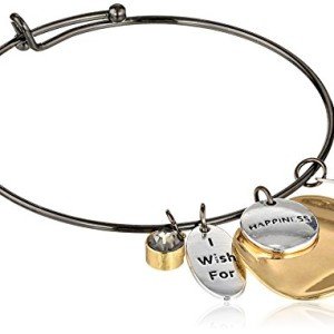 """Freshwater Cultured Pearl """"I Wish For Happiness"""" Metallic Bangle Bracelet"""