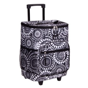 Attractive Black and White Insulated Rolling Cooler Bag with Telescoping Handle, 16-inch, 21-quart Wheeled Cooler