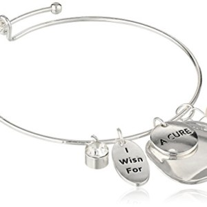 "Freshwater Cultured Pearl ""I Wish For A Cure"" Silver-Tone Bangle Bracelet"