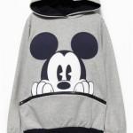 Sheinside Long Sleeve Mickey Hooded Sweatshirt